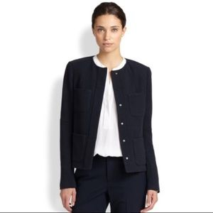 Vince Navy Tweed Jacket with Pockets Sz 2